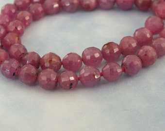 Ruby, Natural Untreated Ruby, 5mm Faceted Round Gemstones, Natural Red Gemstone, Ruby Gemstone Bead, July Birthstone