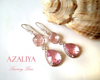 Pink Chandeliers. Strawberry Ice Earrings. Pink Silver. Zirconia Earrings. Azaliya Luxury Line. Bridal, Bridesmaids Earrings. Rose Quartz