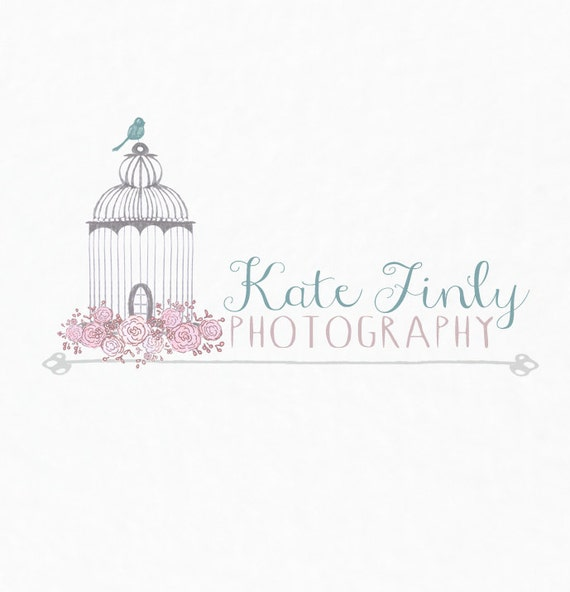 Premade Business Logo: Vintage Birdcage with Flowers Logo