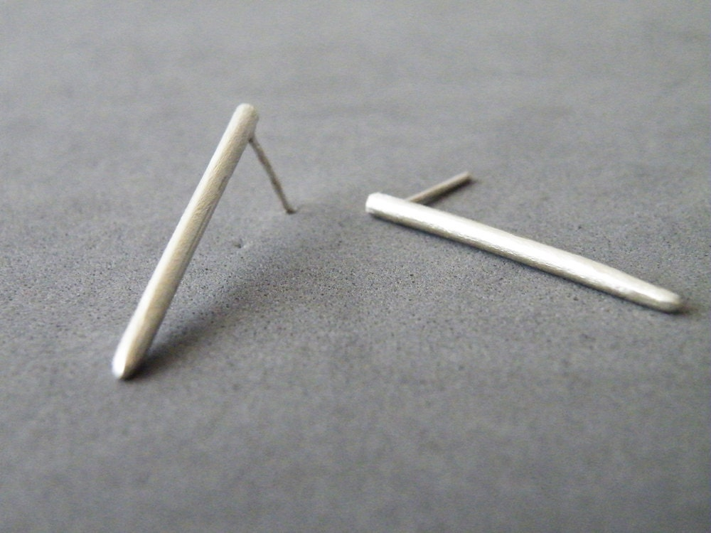 modern silver bar earrings sterling silver stud earrings
