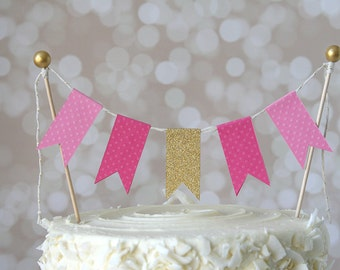 Pink & Gold Pinkalicious Cake Bunting Pennant Flag Cake Topper-MANY Colors to Choose From!  Birthday, Wedding, Shower Cake Topper