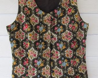 Vintage, 1960's, Boho, Tapestry, Carpet Vest, By Artbro Jr. Sportswear