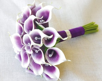 Silk Flower Wedding Bouquet - Purple Heart Calla Lilies Natural Touch with Crystals Silk Bridal Bouquet