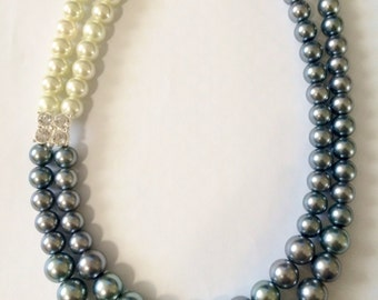 Layered Pearl Necklace with Rhinestone Embellishment