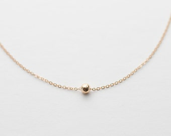 LITTLE PEA 14k Gold Fill, Rose Gold or Sterling Silver, Dainty, Simple Tiny Circle Necklace Delicate, Simple Necklace Layered + Long LN311.4