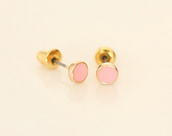 Pink Mini Round earring studs - Enamel Geometric earring studs