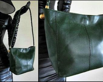 BOTTEGA VENETA Vintage 80s Shoulder Purse Tote / made in Italy / Green Embossed Leather