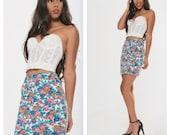 VTG High Waist Floral Skirt