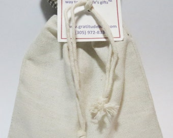 GRATITUDE bag - Brown Gingham top and DIY bottom- Contains 36 GRATITUDE cards and a pen