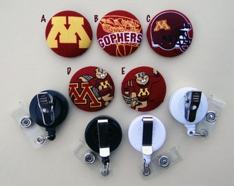 Retractable Badge Holder - Fabric Covered Button - Minnesota Gophers