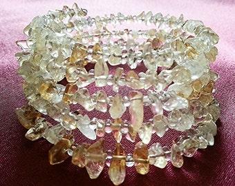 Memory wire Bracelet ~ Gemstone cut beads ~ Crystal Beads-One size