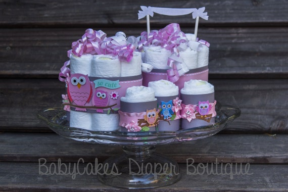 Owl Diaper Cake | Owl Diaper Cake Centerpiece | Owl Baby Shower Decorations | Pink and Gray Owl Baby Shower | Baby Girl Owl Baby Shower