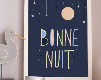 Bonne nuit kids room art print. french art print. goodnight. nursery print. kids room. home decor