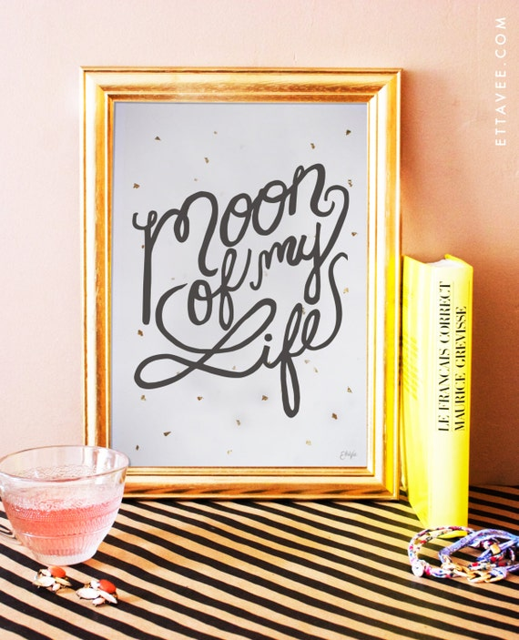 moon of my life - game of thrones art print with gold foil flakes