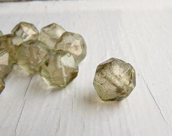 Smoke and Mirrors -10mm frosted smoky grey English cut faceted rounds (4), czech glass beads