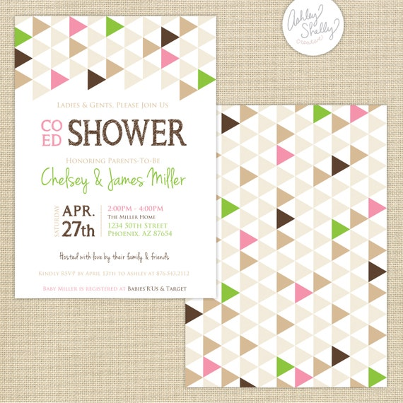 co ed baby shower geometric triangles invitation brown pink green