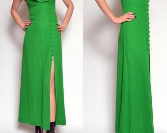 Vintage 70's Green Maxi Dress