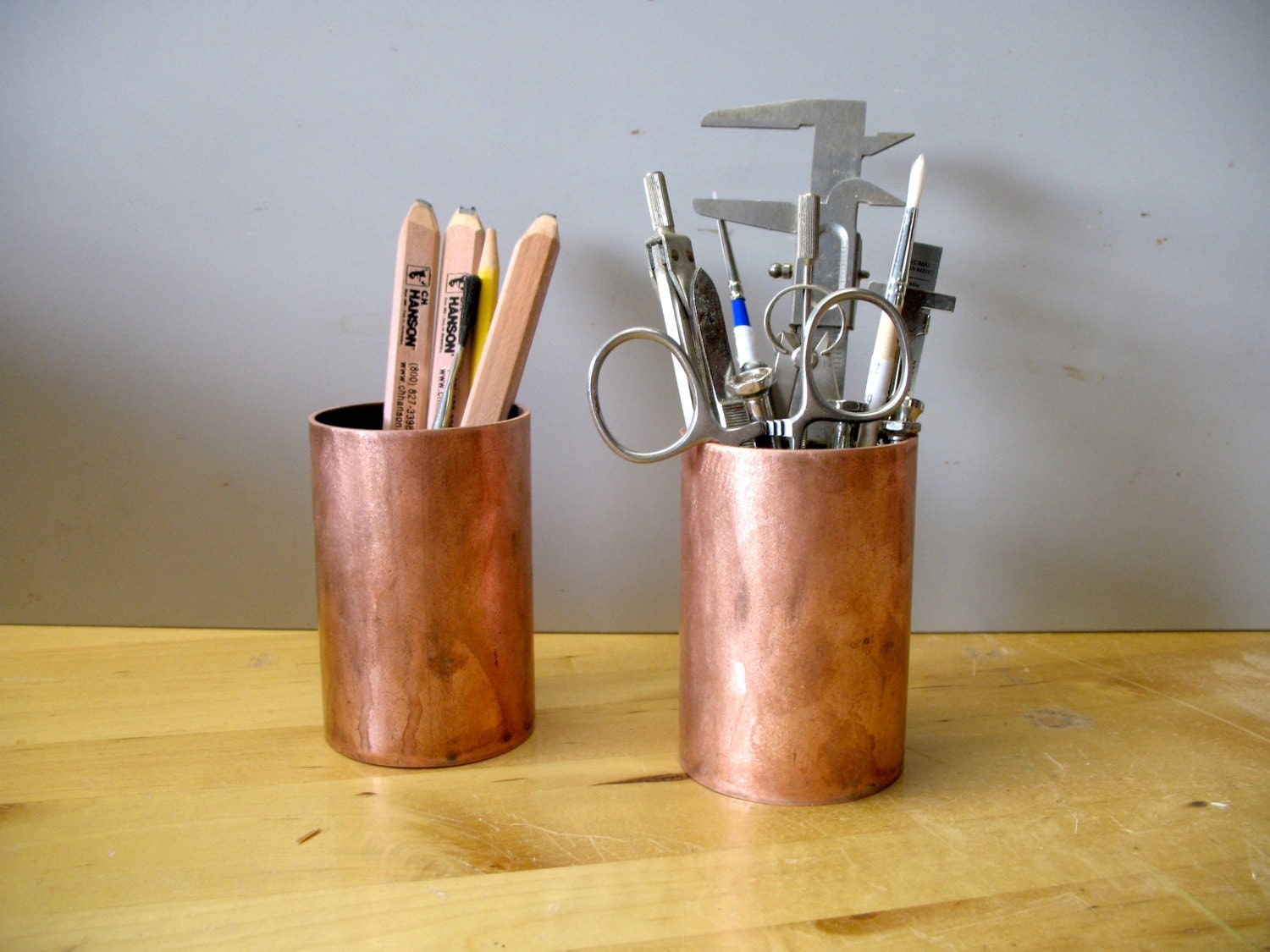 Pencil Holder Desk Accessory of Upcycled Copper Pipe by