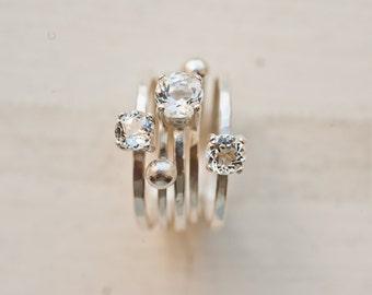 Twinkle - White Gemstone Ring Set of 5 - White Topaz Silver Ring Set