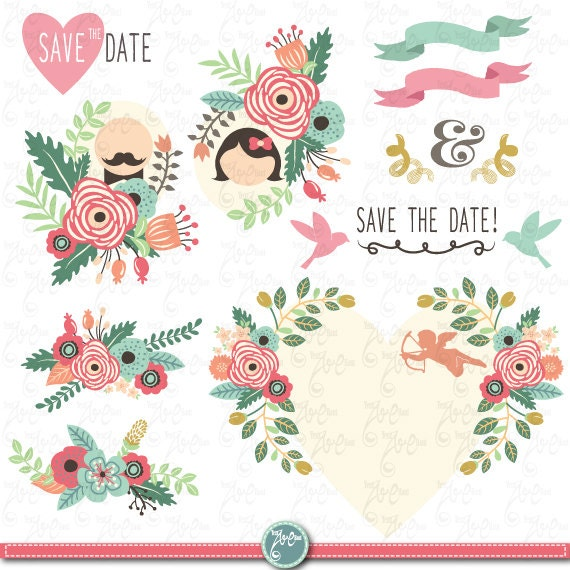 wedding clipart pack wedding floral clip art vintage flowers rh catchmyparty com vintage wedding clip art free printables vintage wedding clipart free images