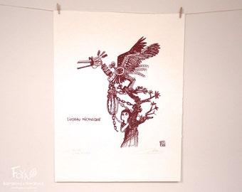 Mechanical Bird: Handmade Serigraphy A3, Limited Edition