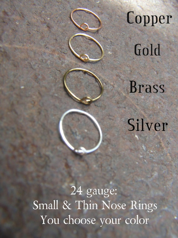 Small Nose Rings 24 Gauge Nose Ring, Thin Nose Ring, Silver Nose Ring, Brass Nose Ring, Copper Nose Ring, Gold Nose Ring- Thread Through