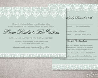 "Romantic Lace ""Lucia"" Wedding Invitation Suite - Classic Deco Vintage Elegant Invite - Custom DIY Digital Printable or Printed Invitations"