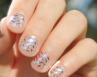 Silver Chevron Transparent Nail Wraps