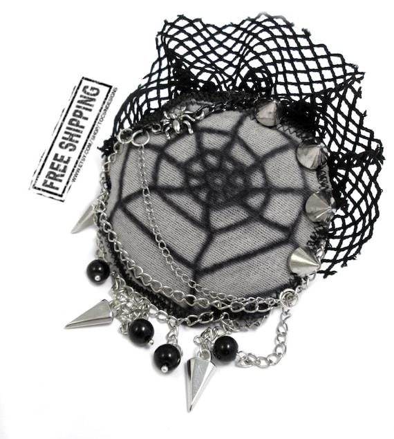 Gothic brooch - gothic jewelry - gothic jacket spider brooch gothic lolita accessories halloween brooch deathrock goth clothing psychobilly