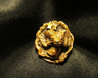 Tortolani Zodiac Aries Ram Gold Tone Brooch - Makes a Great Gift!