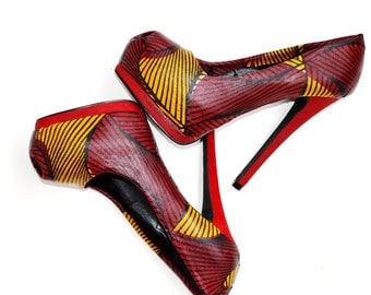Ankara African Print Shoes- Ankara Shoes- Wedding Shoes- Platform Wedding Heels -Platform Wedding Shoes -High Heels - Platforms - Peep Toe -
