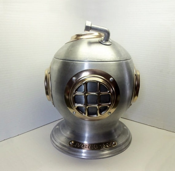 T & S Brass >> Vintage Scuba Diving Helmet Ice Bucket Livorno 1894 Aluminum