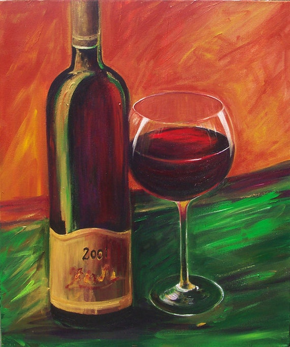Items similar to wine bottle and wine glass canvas print for Acrylic paint on wine glasses