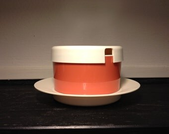 EMSA WEST GERMANY Salmon-coloured and Off white Marmalade Plastic Box  with Lid 70s
