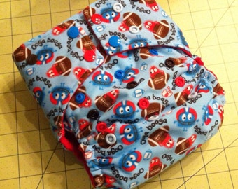 Sale! Medium One Size Diaper in Football Ooga Booga  Print