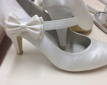 Vintage Style Satin Wedding Shoes With Side Bow On Velcro Strap