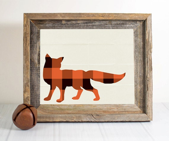 Rustic Wall Decor For Nursery : Items similar to plaidfox bear nursery print woodland