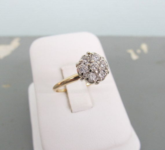 Diamond Cluster Ring Vintage Engagement Ring 14k Gold Ring