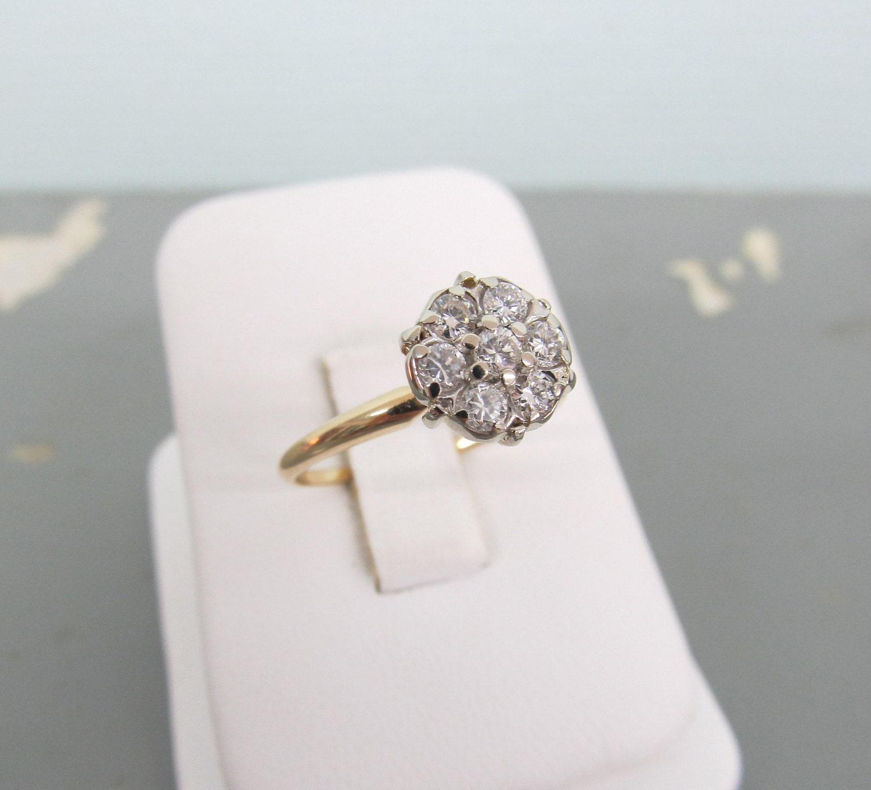 Cluster Bands: Diamond Cluster Ring Vintage Engagement Ring 14k Gold Ring