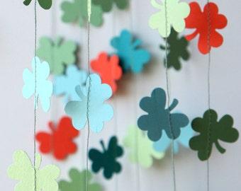 Clover garland, St. Patricks Day garland, Shamrock garland, Flower garland, Coral, teal, blue, Leafs garland,shamrocks, Irish bridal shower
