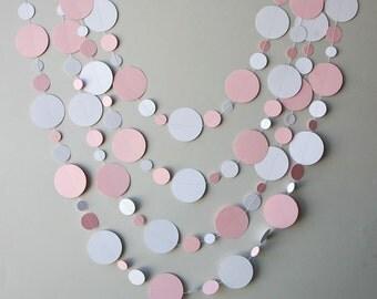 First Birthday party, Baby shower garland, Baby shower decor, Pink & white garland, New born, Paper garland, Sprinkle shower, KN2C169BN