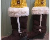 Handmade Boot Cuffs! Women! Mustard Yellow!