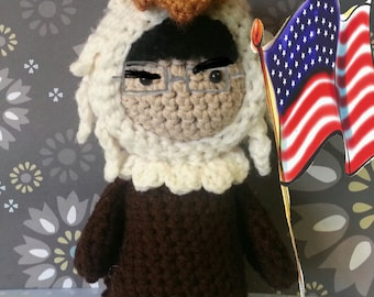 Amigurumi Stephen Colbert in Eagle costume