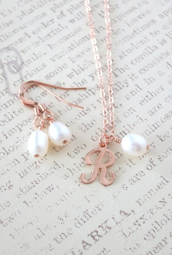 Rose Gold Filled Letter Necklace Earrings - Personalized Initial, White Freshwater Pearl, rose gold pink weddings, bridesmaid pearl jewelry