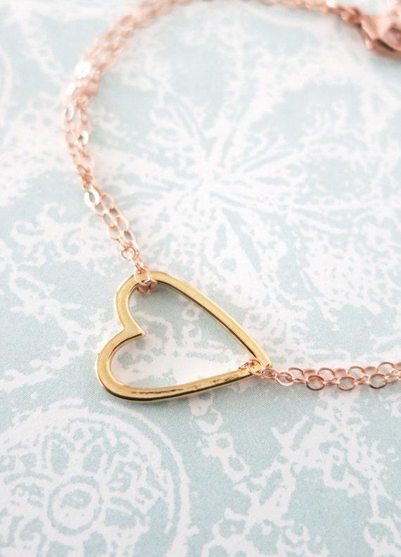 Golden Heart on Rose Gold Chain bracelet - simple rose gold filled bracelet with gold plated heart, best friends, sisters, mum, my love