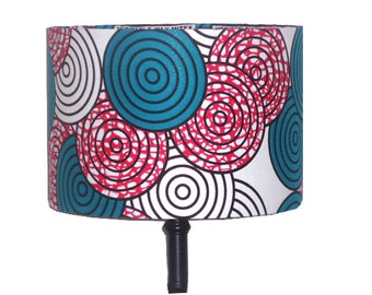 Retro Geometric African Lampshade, READY TO SHIP, Nursery Room Decor, Fuchsia Pink Teal Drum Lampshade, African Lighting, Detola and Geek