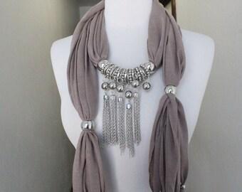 Fashion jewelry  scarf  cream color