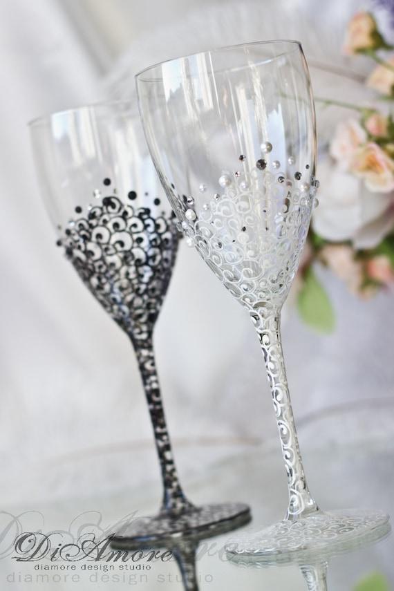 Black white wedding wine glasses lace bride and groom for How to make wedding wine glasses