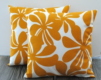 Pair of Premier Prints Indoor/Outdoor yellow floral Pillow Covers, 18x18, cushion, decorative pillow, throw pillow