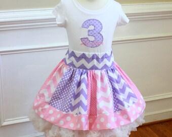 pink purple princess birthday outfit Girls princess birthday for toddler girl Birthday skirt set Shirt with tiara number name matching skirt